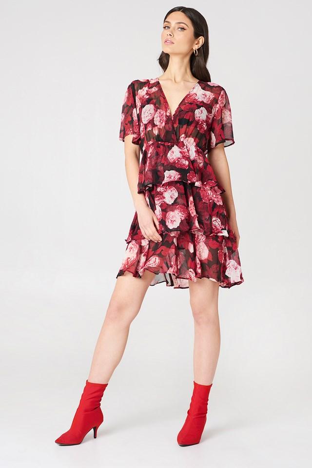 Triple Layer Flounce Dress Red Flower