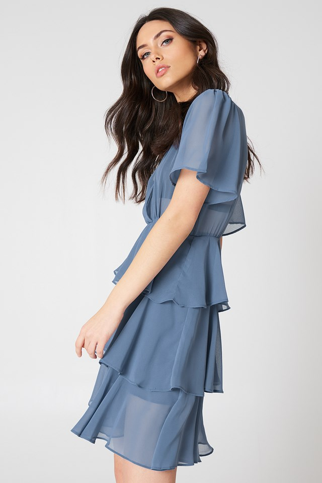 Triple Layer Flounce Dress Dusty Blue