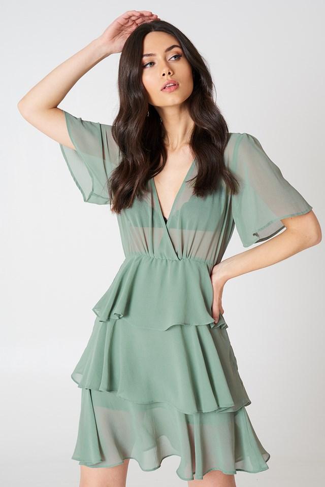 Triple Layer Flounce Dress Duck Green