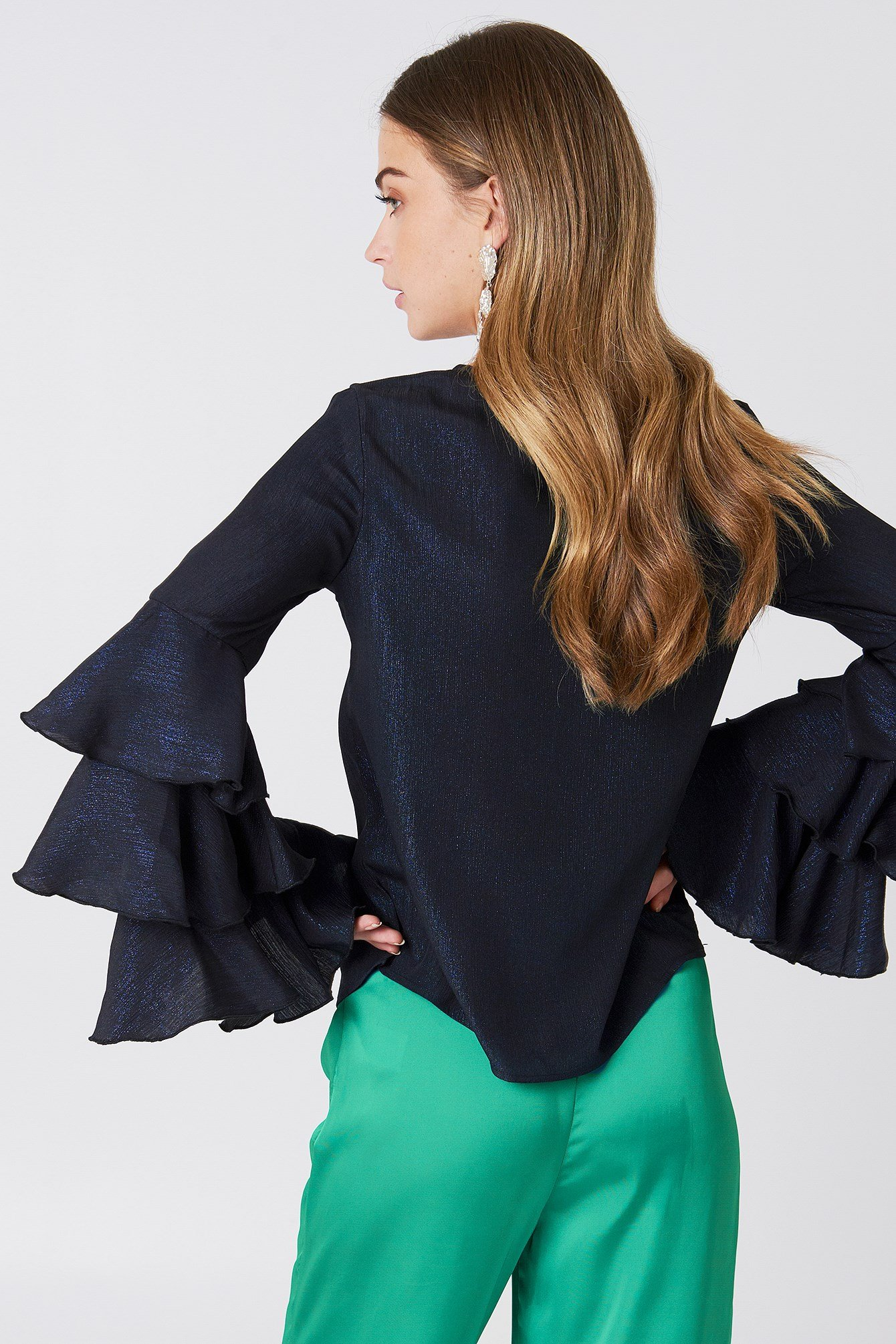 Triple Layer Flounce Glitter Blouse NA-KD.COM