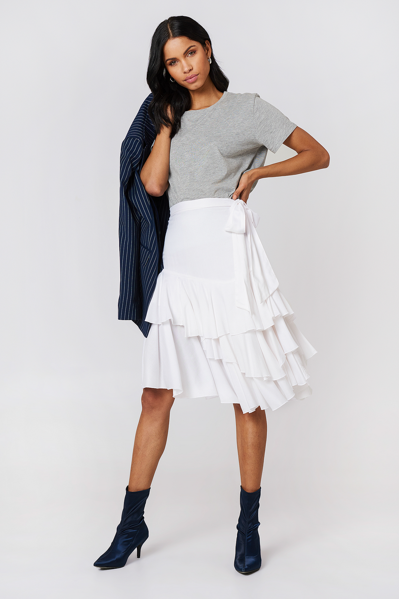 Triple Layer Frill Midi Skirt  NA-KD.COM