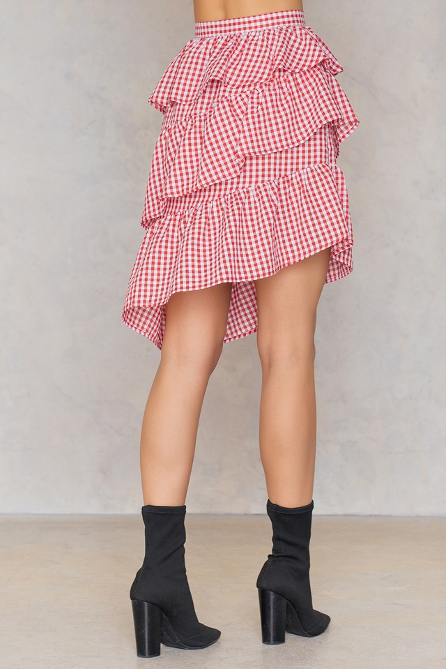 Triple Layer Gingham Skirt Red