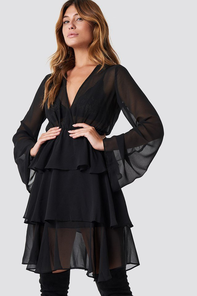 Triple Layer LS Flounce Dress Black