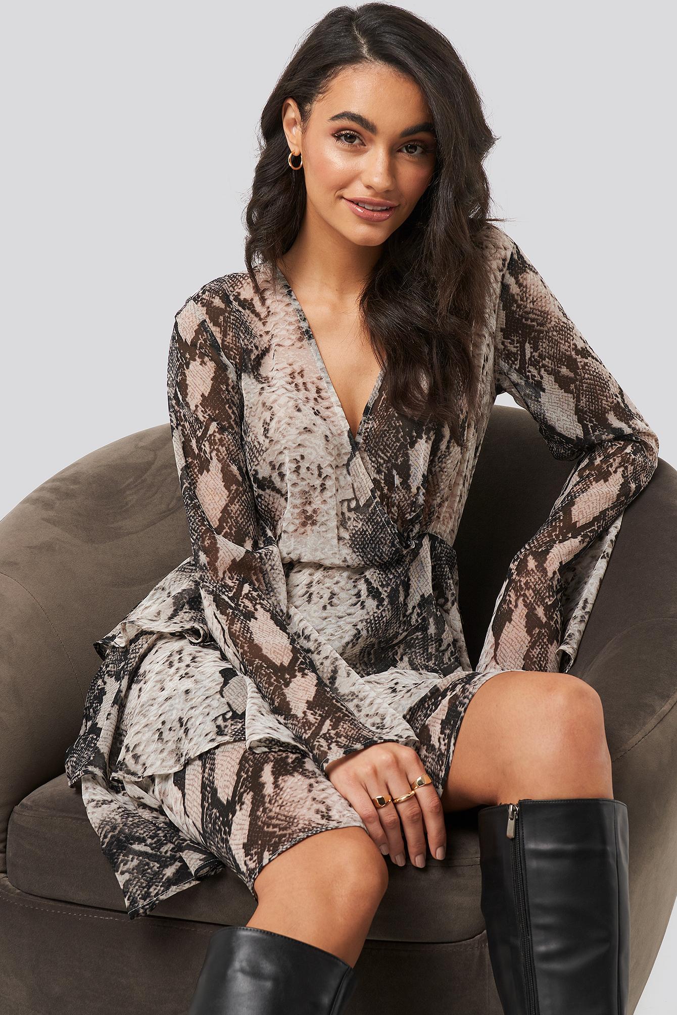 Triple Layer Ls Flounce Dress Grey by Na Kd Boho