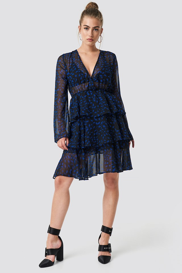 Triple Layer LS Flounce Dress Black/Blue Pattern