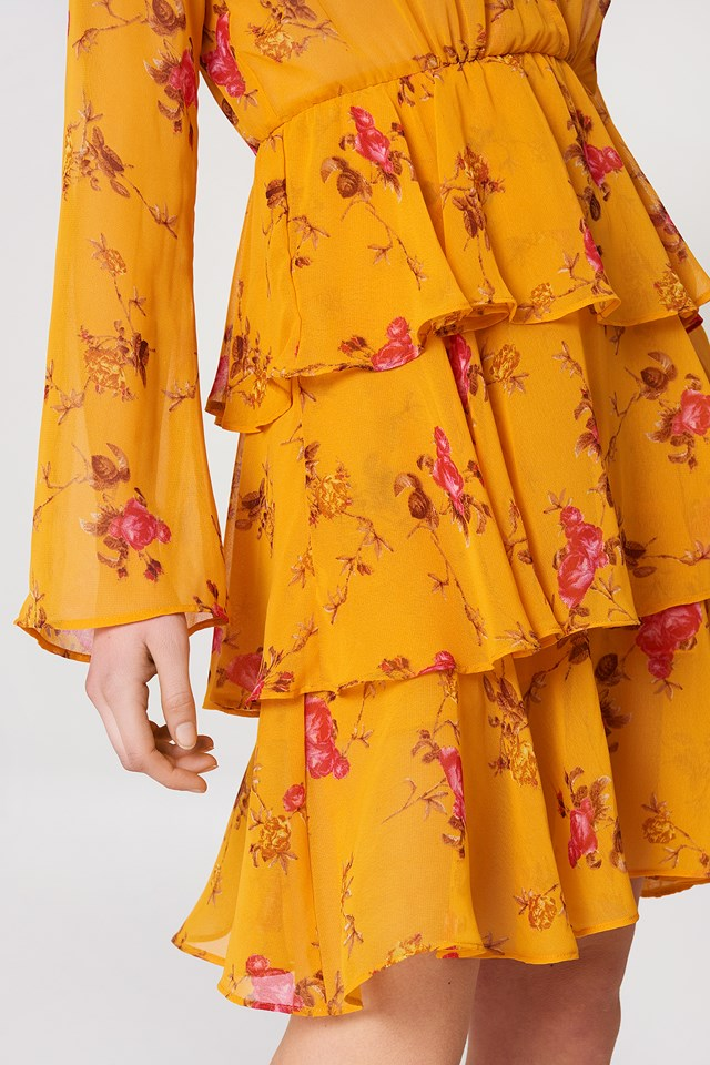 Triple Layer LS Flounce Dress Orange Floral