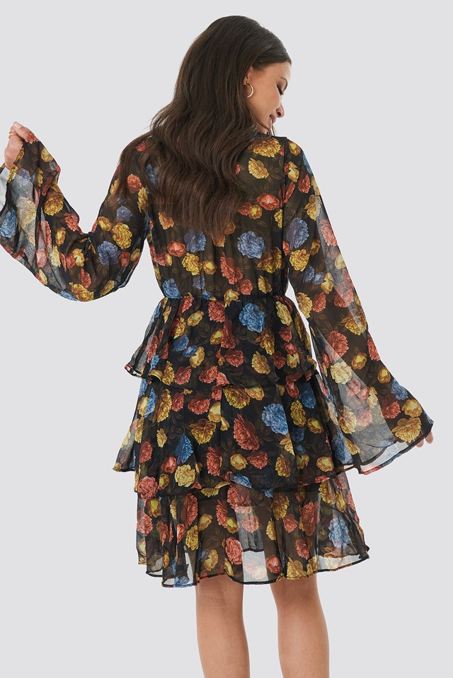 Triple Layer LS Flounce Dress Autumn Flowers