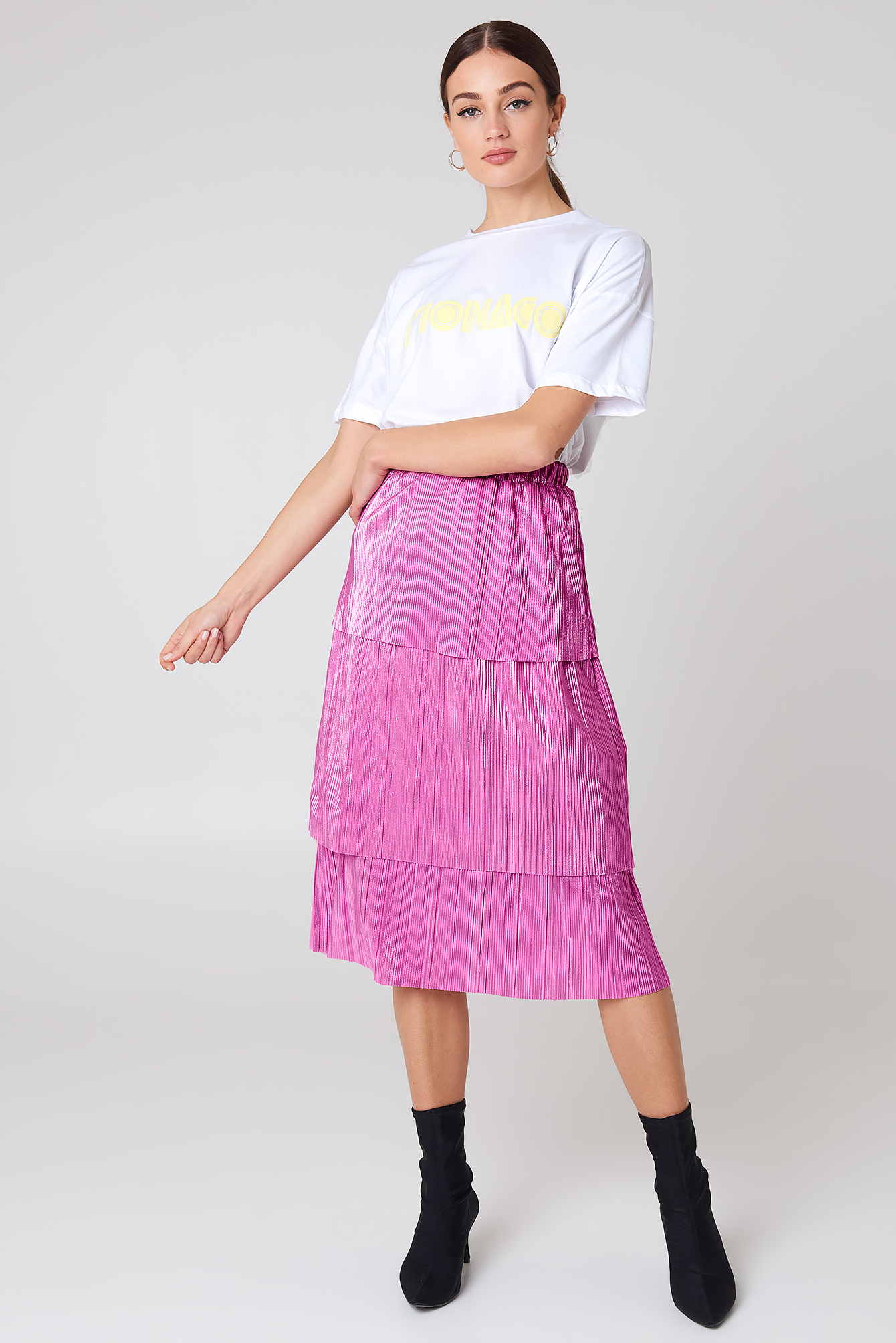 na-kd party -  Triple Layer Midi Skirt - Pink