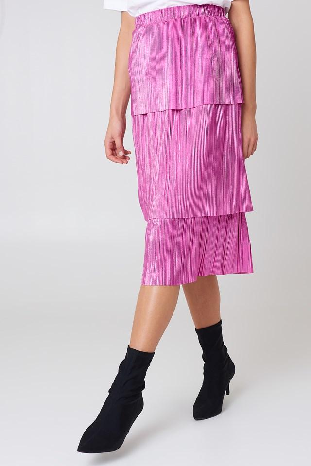 Triple Layer Midi Skirt Pink