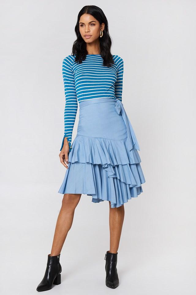 Triple Layer Frill Midi Skirt NA-KD.COM