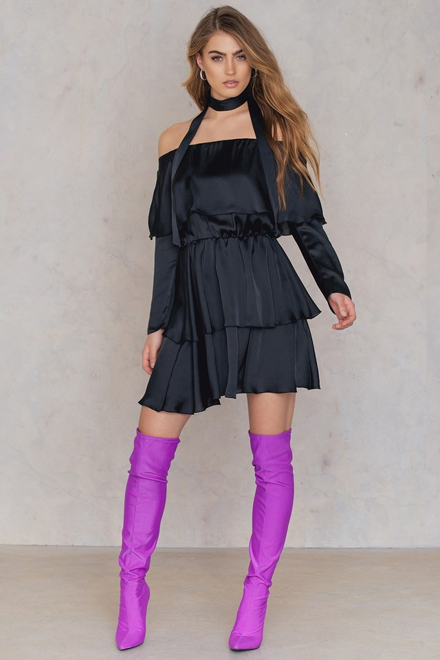 Triple Layer Off Shoulder Dress With Scarf Black