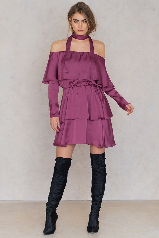 Triple Layer Off Shoulder Dress With Scarf Dusty Rose