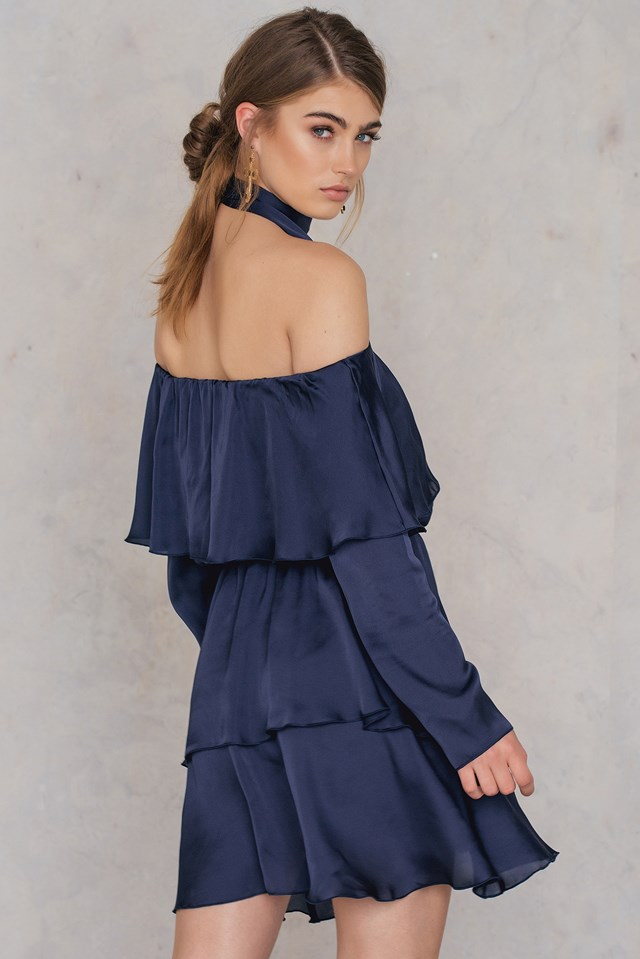 Triple Layer Off Shoulder Dress With Scarf Midnight Blue