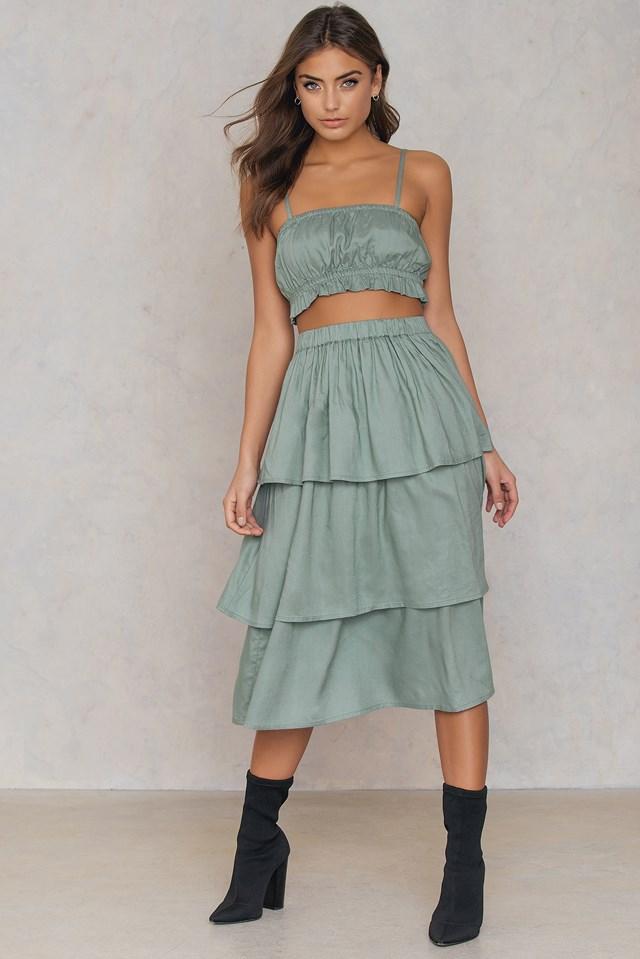 Triple Layer Skirt Duck Green
