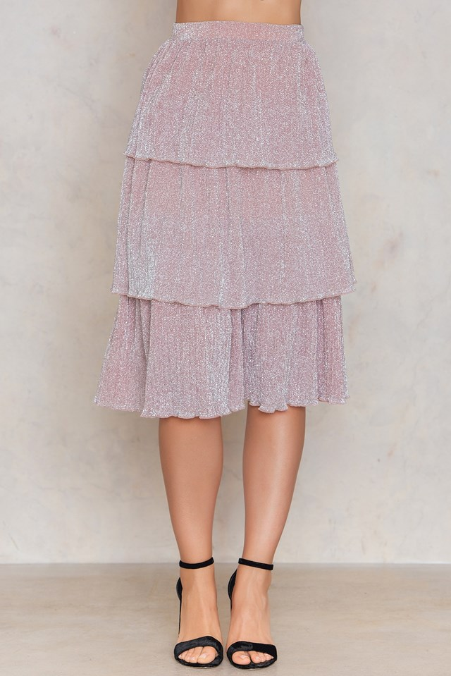 Triple Layers Sparkle Skirt Pink