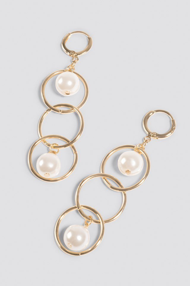 Triple Ring Pearl Earrings Gold