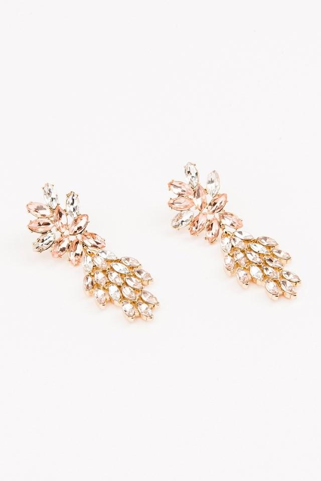 Tropical Rhinestone Earrings Gold/Pink Stone