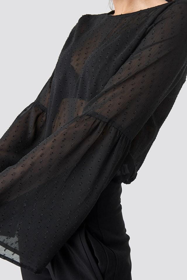 Trumpet Sleeve Dobby Chiffon Blouse Black