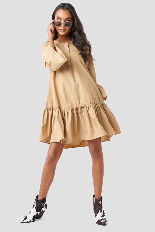 Trumpet Sleeve Flounce Dress Beige