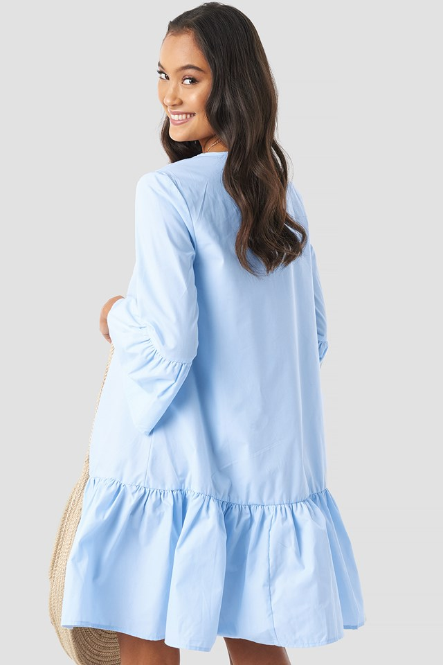 Trumpet Sleeve Flounce Dress Light Blue