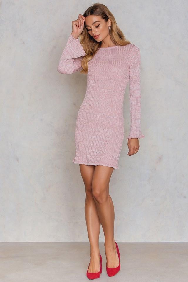 Trumpet Sleeve Glittery Dress Pink