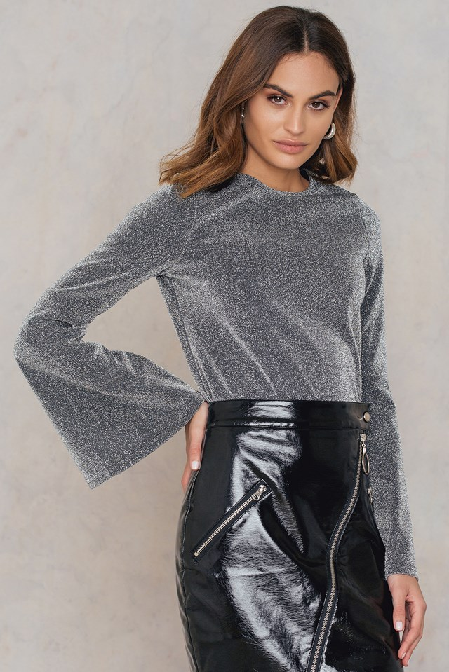 Trumpet Sleeve Glittery Sweater Silver
