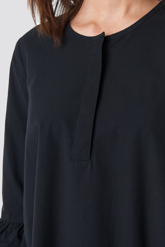 Trumpet Sleeve Mini Dress Black