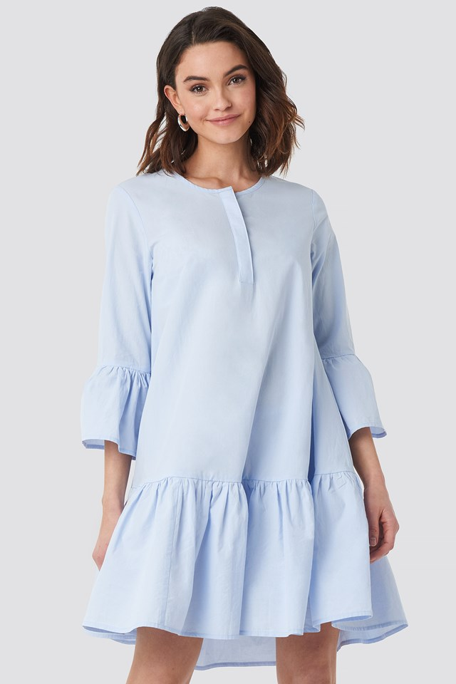 Trumpet Sleeve Mini Dress Blue