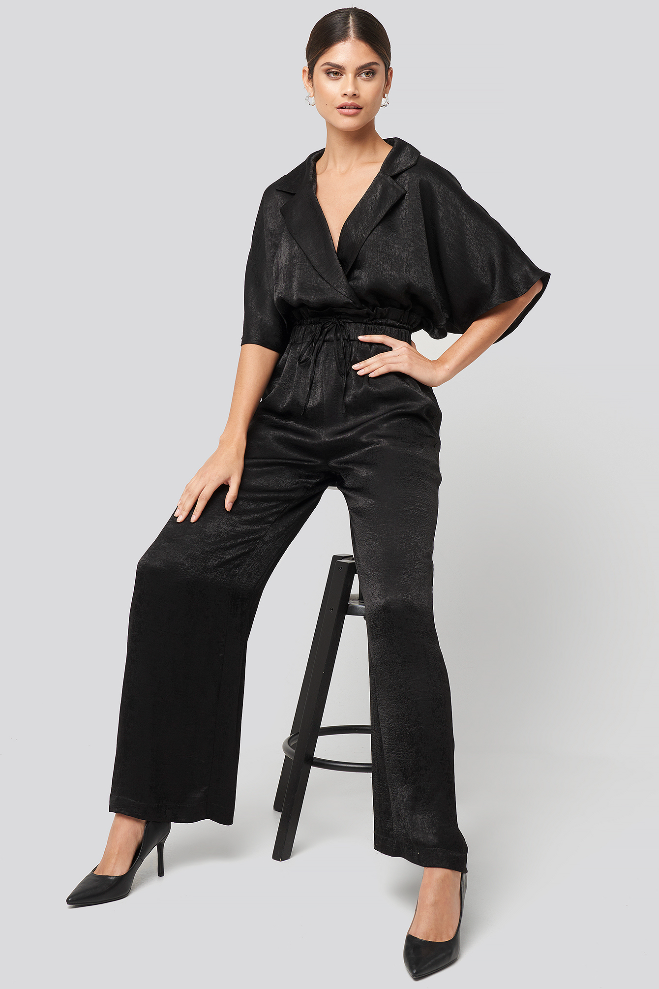 Black Tuexedo Collar Wide Leg Jumpsuit