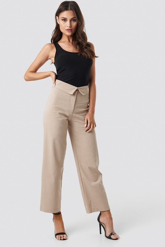 Turn Down Cotton Blend Pants Beige