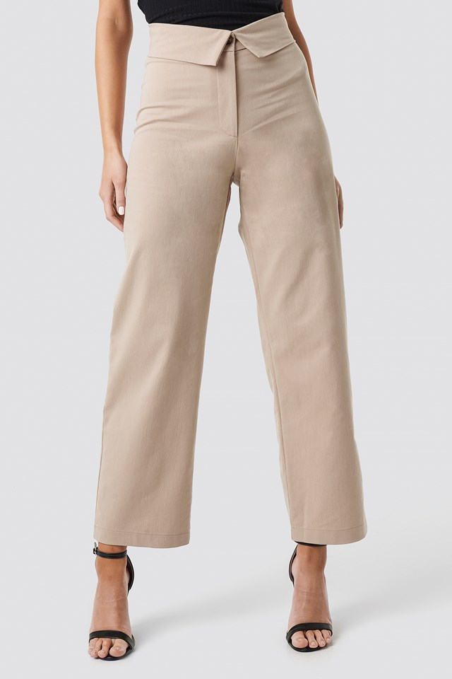 Turn Down Cotton Blend Pants Beige