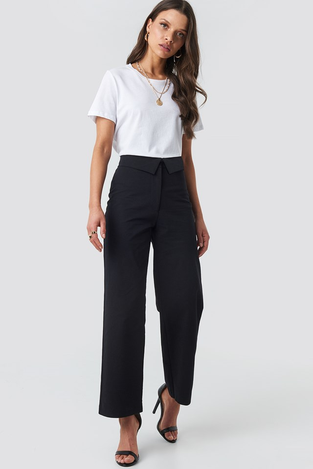 Turn Down Cotton Blend Pants Black