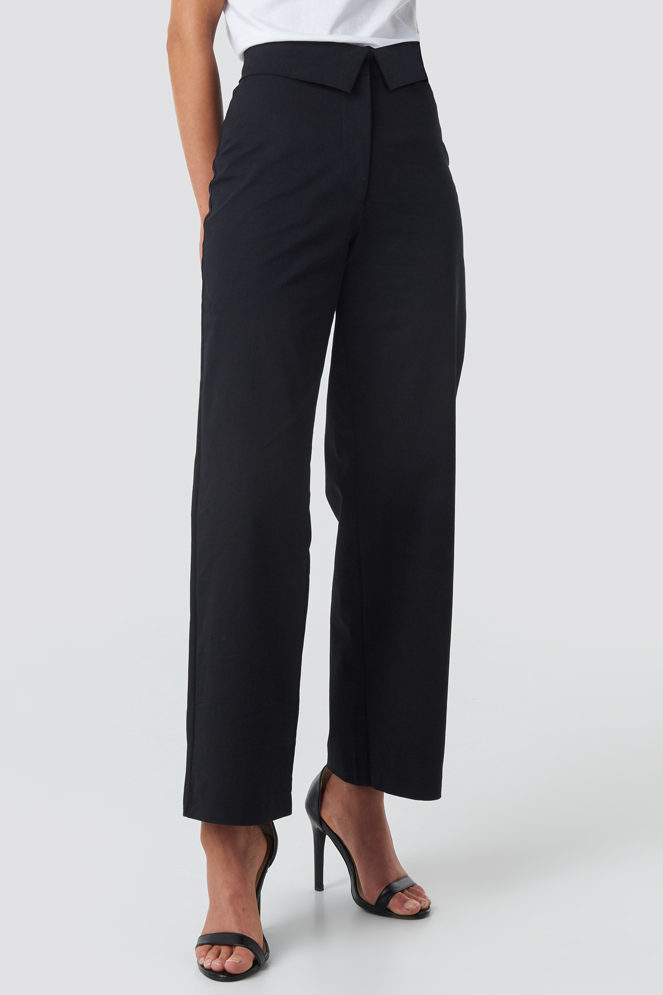 Turn Down Cotton Blend Pants NA-KD.COM