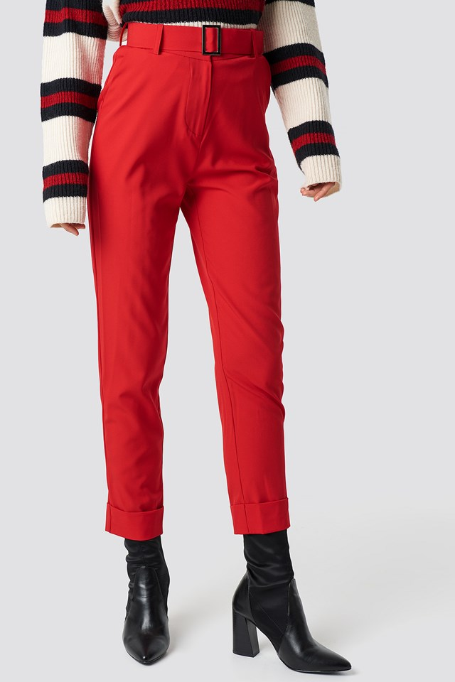 Turn Up Belted Pants Red