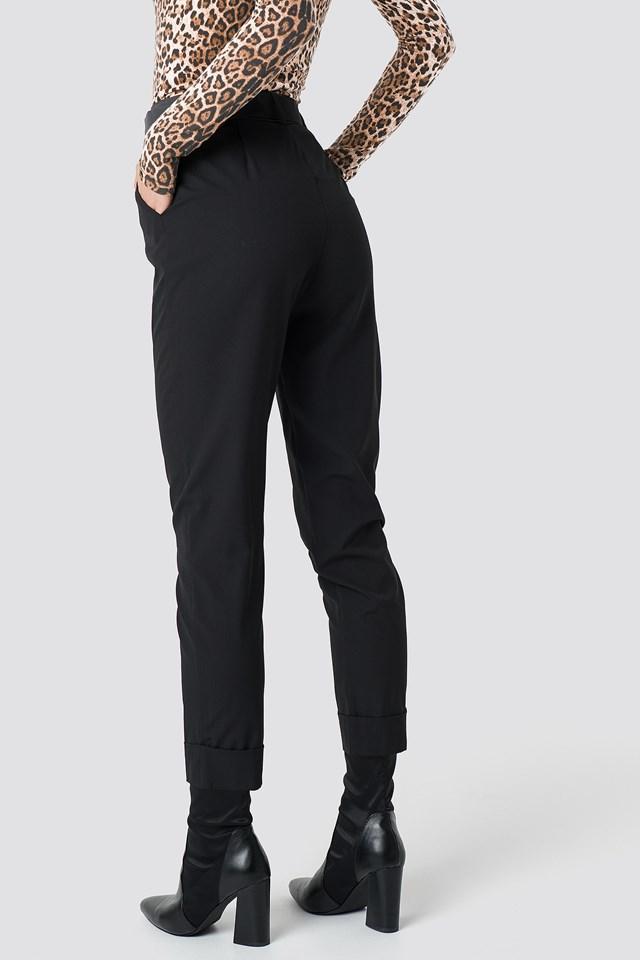 Turn Up Belted Pants Black