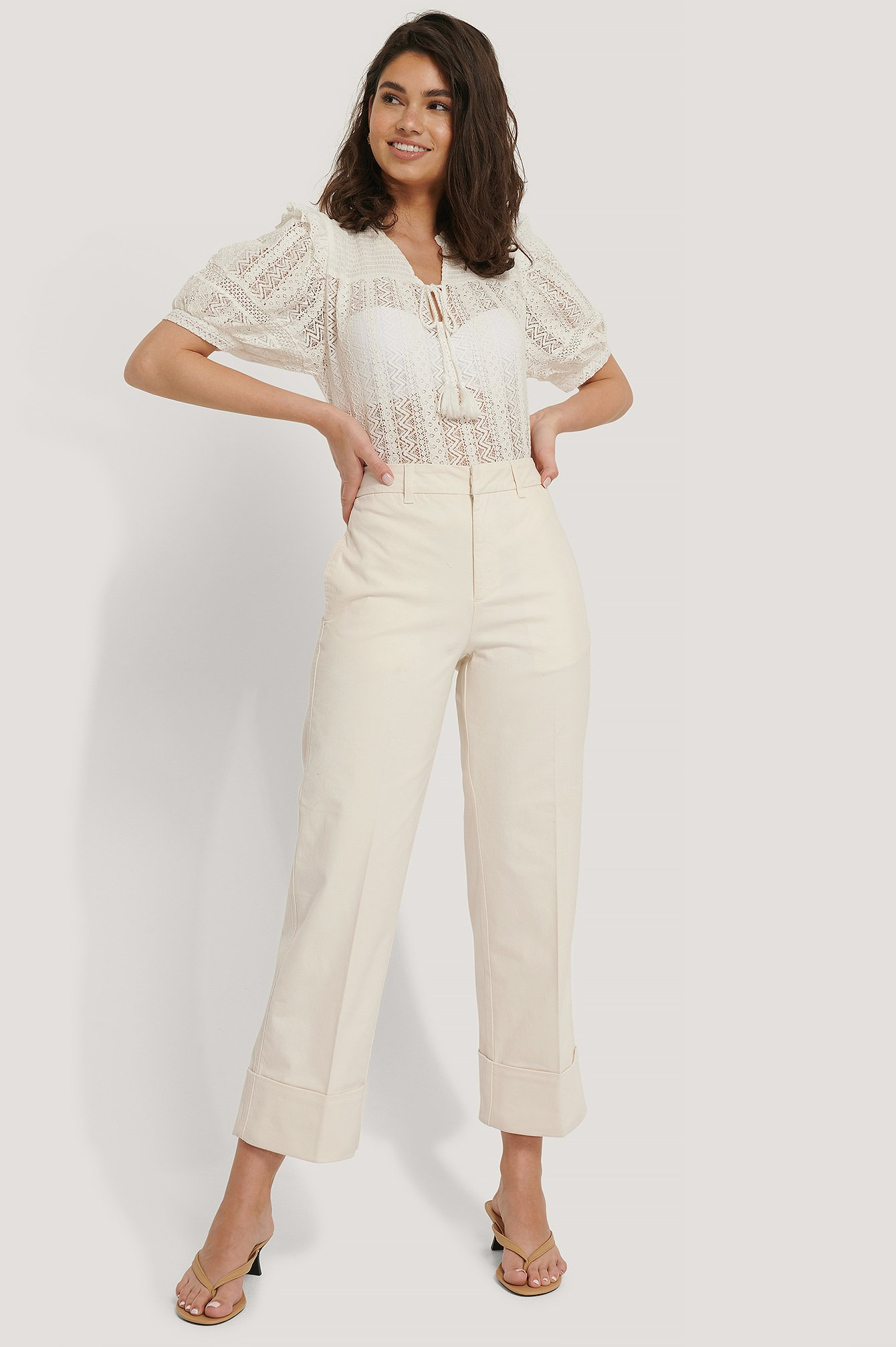 Beige Turn-up Cuff Pants