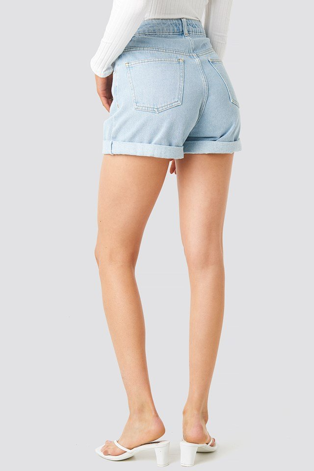 Turn Up Mom Shorts Light Blue