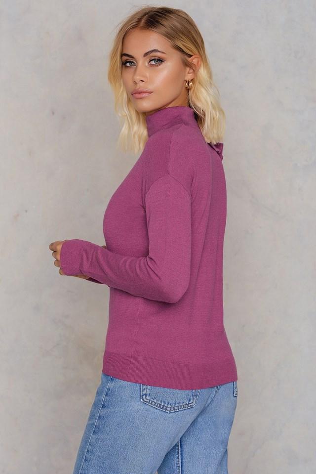 Turtle Neck Frill Sweater Purple Rose