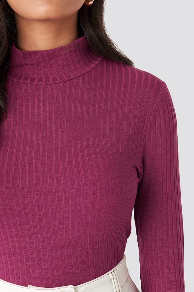 Turtle Neck Long Sleeve Top Purple