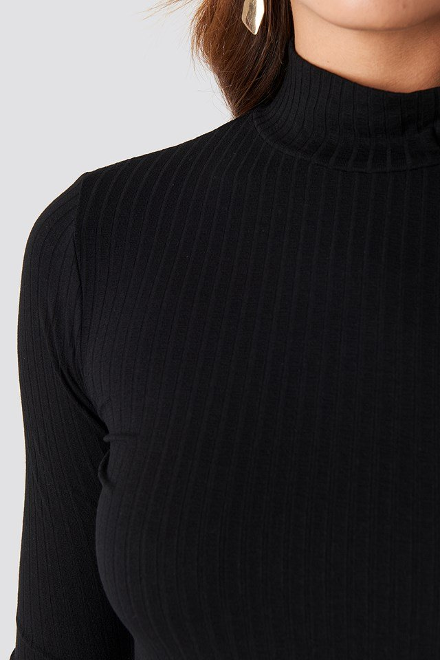 Turtle Neck Long Sleeve Top Deep Black