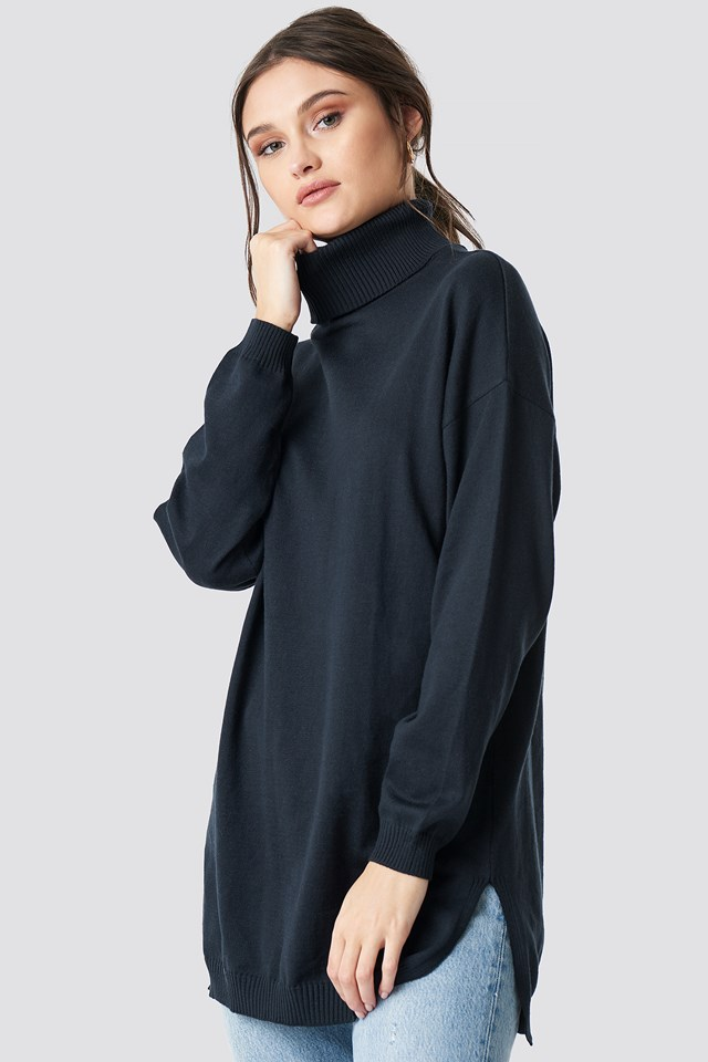 Turtle Neck Long Sweater Navy