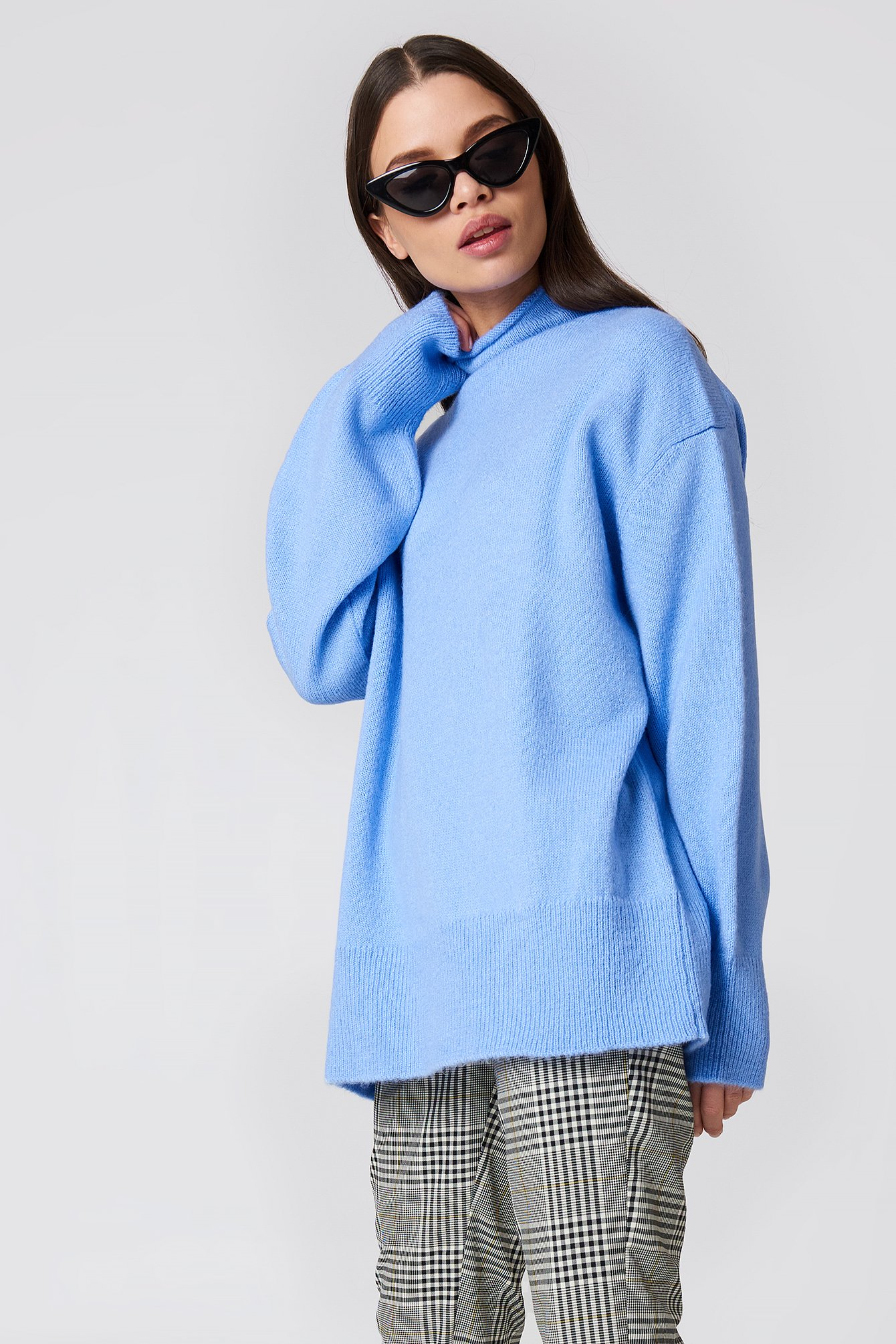 na-kd trend -  Turtle Neck Oversize Knitted Sweater - Blue