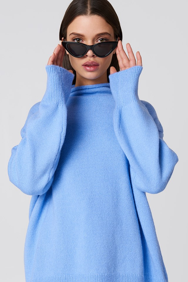 Turtle Neck Oversize Knitted Sweater Blue