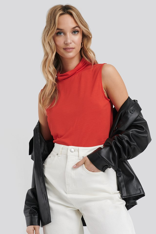 Turtle Neck Sleeveless Ribbed Jersey Top Red