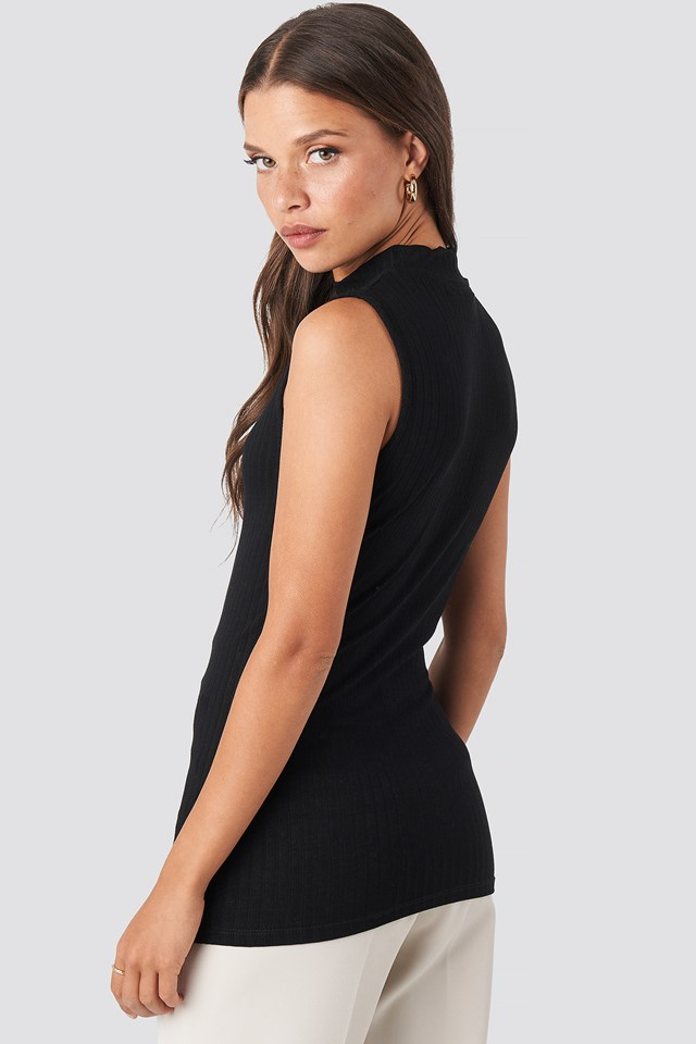 Turtle Neck Sleeveless Top Deep Black