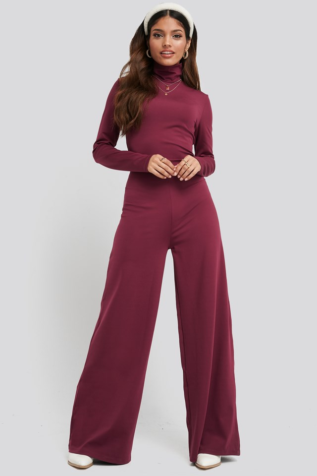 Turtle Neck Long Sleeve Jersey Jumpsuit Dark Pink