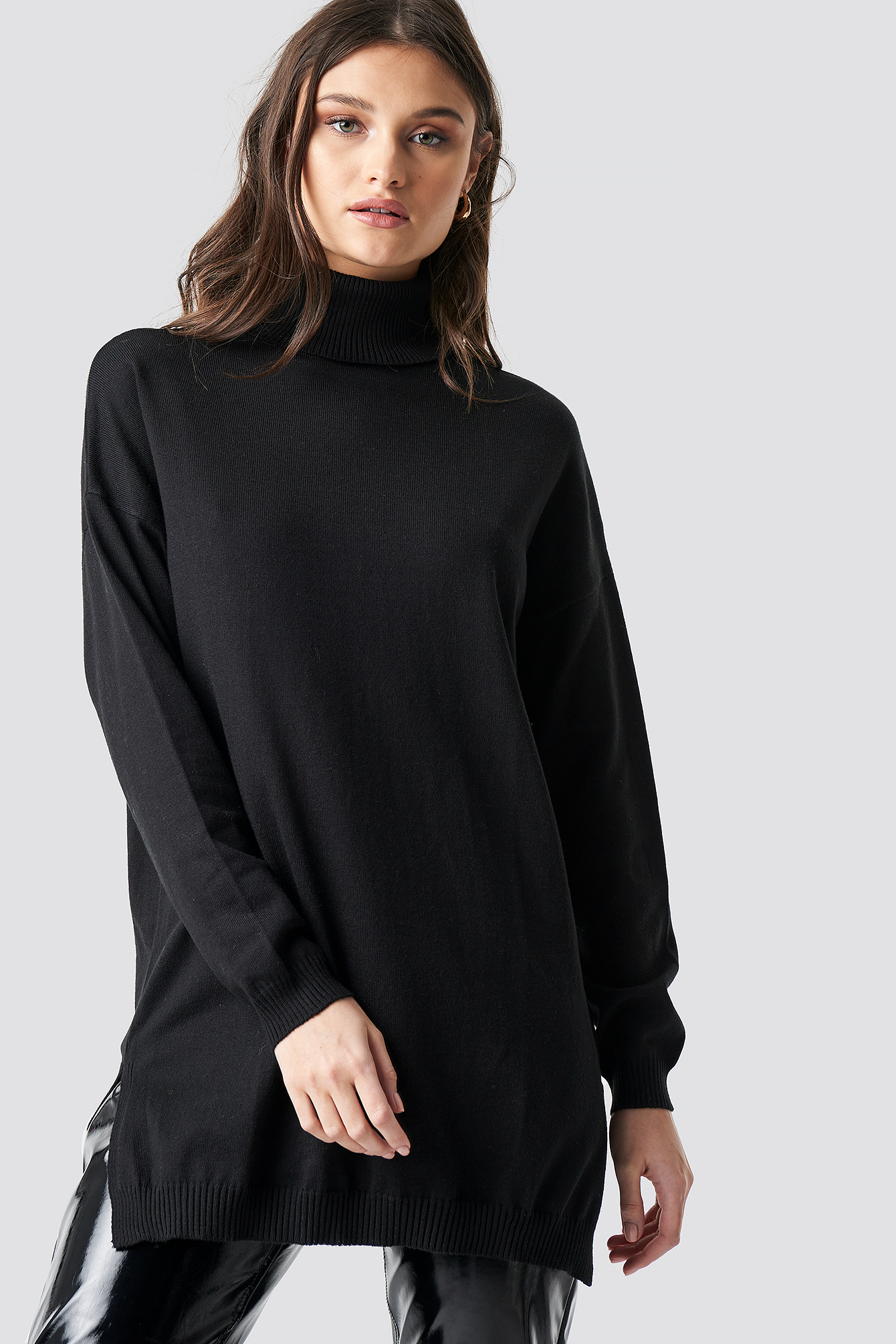 na-kd trend -  Turtle Neck Long Sweater - Black