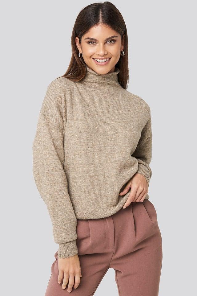 Turtleneck Oversized Knitted Sweater Beige