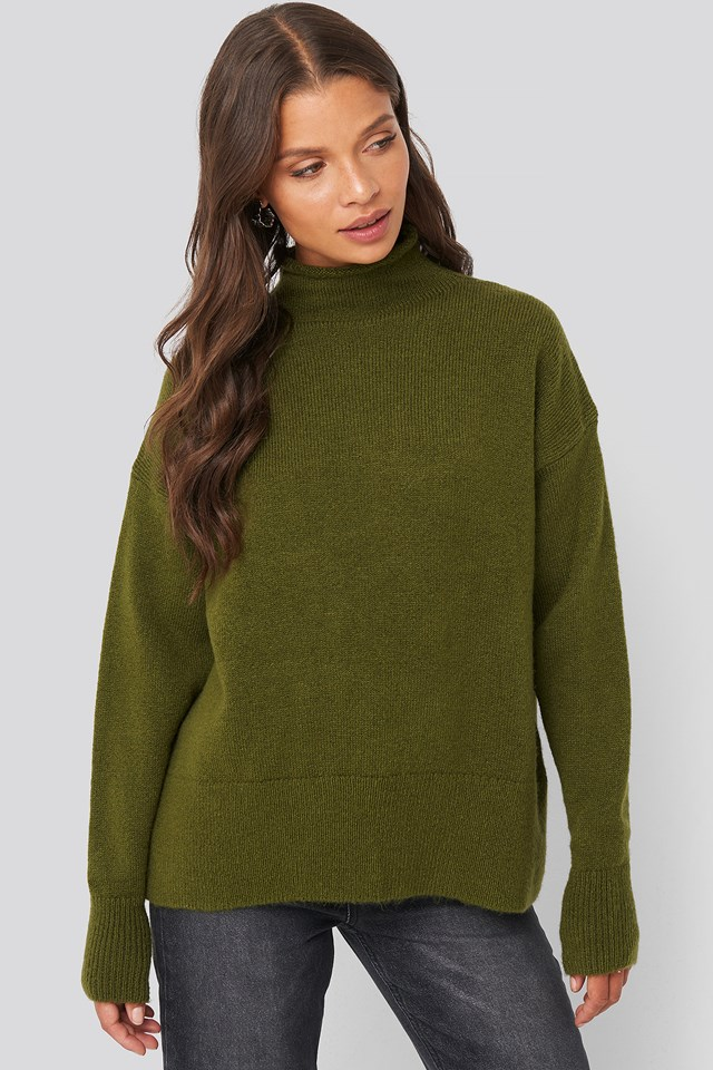 Turtleneck Oversized Knitted Sweater Olive Green