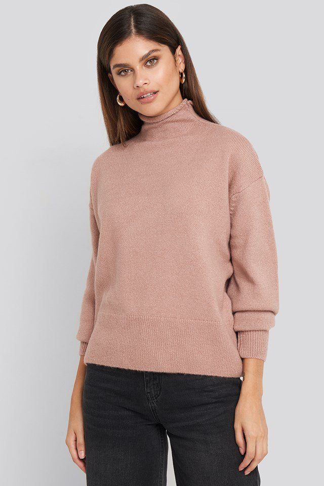 Turtleneck Oversized Knitted Sweater Dusty Pink